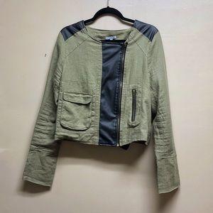 Olive & Black Leather Moto Jacket